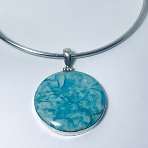 Jewelry - Blue Stone Sterling Silver 925 Pendant